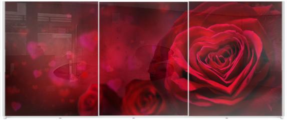 Panel szklany do szafy przesuwnej - valentine invitation with hearts and red roses