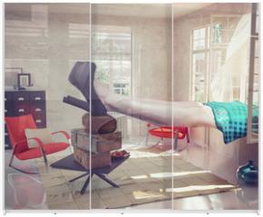 Panel szklany do szafy przesuwnej - large woman  in the interior