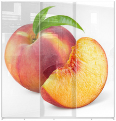 Panel szklany do szafy przesuwnej - Peach with slice and leaves isolated on white