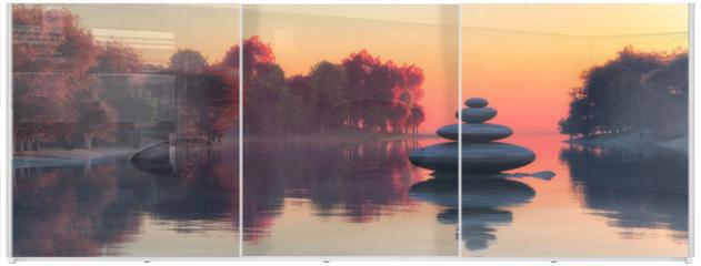 Panel szklany do szafy przesuwnej - Zen stones