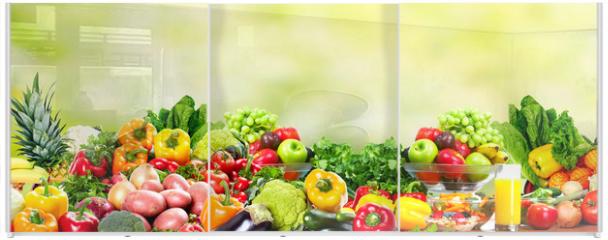 Panel szklany do szafy przesuwnej - Fruits and vegetables.