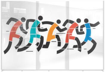 Panel szklany do szafy przesuwnej - Running race