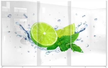 Panel szklany do szafy przesuwnej - lime and water splash