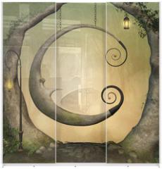 Panel szklany do szafy przesuwnej - Enchanted swing in the forest