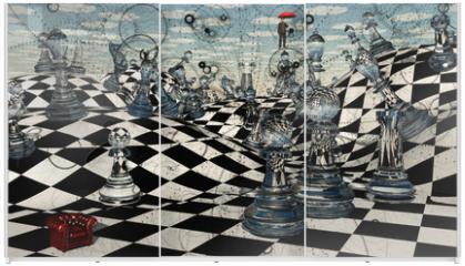 Panel szklany do szafy przesuwnej - Fantasy Chess