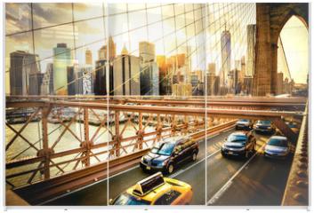 Panel szklany do szafy przesuwnej - New York City, Brooklyn Bridge skyline