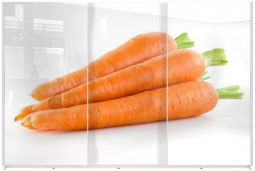 Panel szklany do szafy przesuwnej - Carrot. Heap of vegetable isolated on white