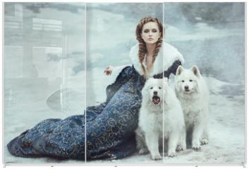 Panel szklany do szafy przesuwnej - The woman on winter walk with a dog