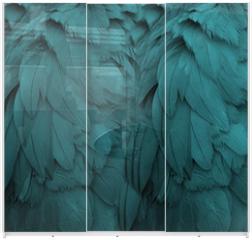 Panel szklany do szafy przesuwnej - Aqua Feathers
