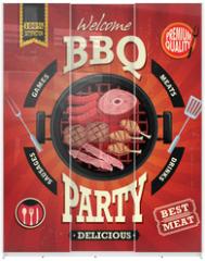 Panel szklany do szafy przesuwnej - Vintage BBQ party menu poster design