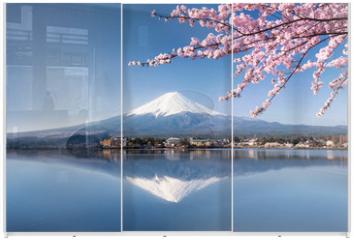 Panel szklany do szafy przesuwnej - Berg Fuji in Kawaguchiko Japan