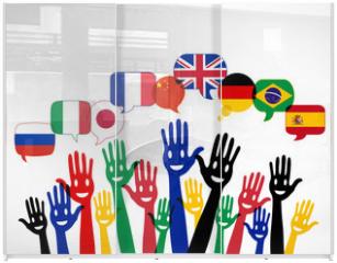 Panel szklany do szafy przesuwnej - mains bulles : apprendre les langues étrangères