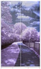 Panel szklany do szafy przesuwnej - A path through the park - Infrared landscape