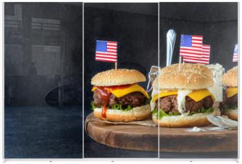 Panel szklany do szafy przesuwnej - Beef burgers