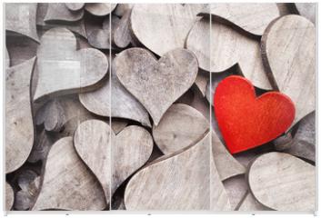 Panel szklany do szafy przesuwnej - Rustic heart.