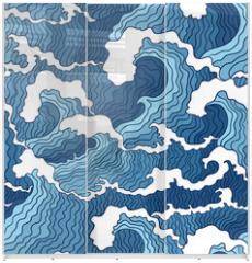 Panel szklany do szafy przesuwnej - Abstract wave seamless pattern.