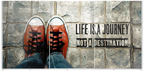 Panel szklany do szafy przesuwnej - Life is a journey not a destination, Inspiration quote