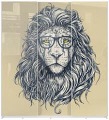 Panel szklany do szafy przesuwnej - Hipster lion vector illustration. Glasses separated.