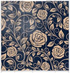 Panel szklany do szafy przesuwnej - Vintage roses flowers seamless pattern
