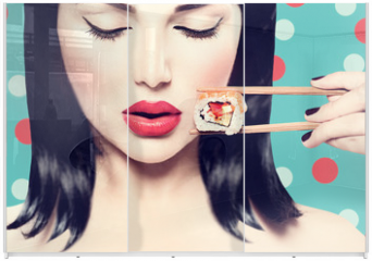 Panel szklany do szafy przesuwnej - Beautiful woman holding chopsticks with sushi roll