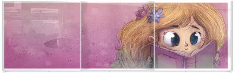 Panel szklany do szafy przesuwnej - niña leyendo un libro
