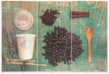 Panel szklany do szafy przesuwnej - Top View of Coffee Drink Break Concept, Vintage Tone