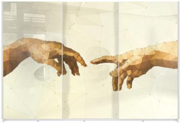 Panel szklany do szafy przesuwnej - Abstract God's hand vector illustration