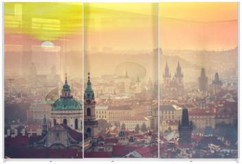 Panel szklany do szafy przesuwnej - Prague at the sunrise