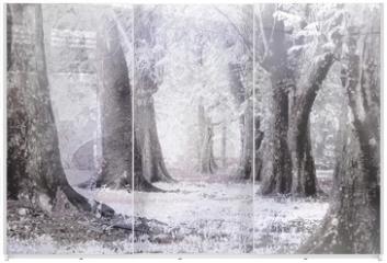 Panel szklany do szafy przesuwnej - winter foggy and snow storm in a  forest