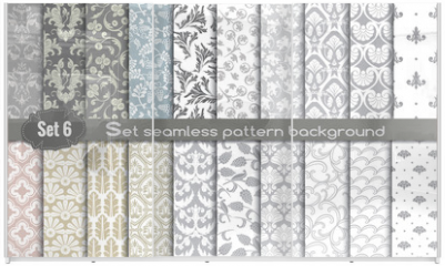 Panel szklany do szafy przesuwnej - Vector damask seamless pattern background.pattern swatches included for illustrator user, pattern swatches included in file, for your convenient use.