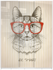 Panel szklany do szafy przesuwnej - Vintage graphic poster with hipster cat with red glasses.