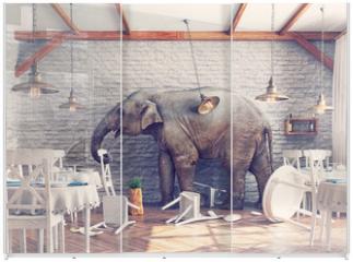 Panel szklany do szafy przesuwnej - The elephant  in a restaurant