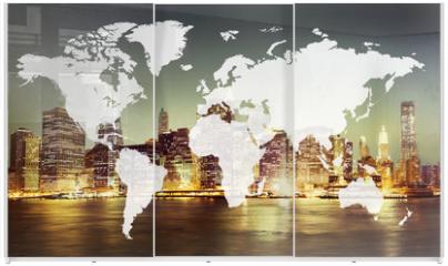 Panel szklany do szafy przesuwnej - World Global Cartography Globalization Earth International Conce