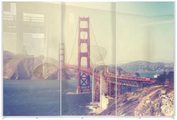 Panel szklany do szafy przesuwnej - Vintage toned picture of the Golden Gate Bridge, San Francisco.