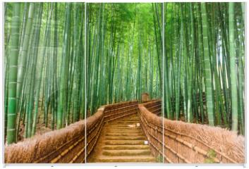 Panel szklany do szafy przesuwnej - Kyoto, Japan Bamboo Forest