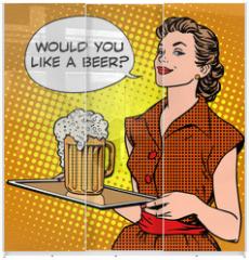 Panel szklany do szafy przesuwnej - The waitress beer on a tray