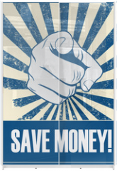 Panel szklany do szafy przesuwnej - Save money motivational poster with hand pointing on grunge vintage vector background.