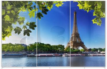 Panel szklany do szafy przesuwnej - Sekwana i Wieża Eiffla w Paryżu