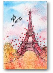 Plakat - vintage postcard. watercolor illustration. Paris,France, Eiffel Tower