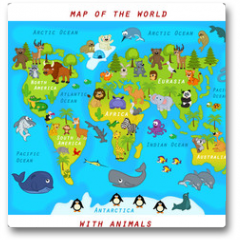 Plakat -  map of the world with animals - vector illustration, eps