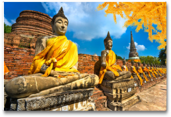 Plakat - Buddha Statues in Ayutthaya, Thailand,