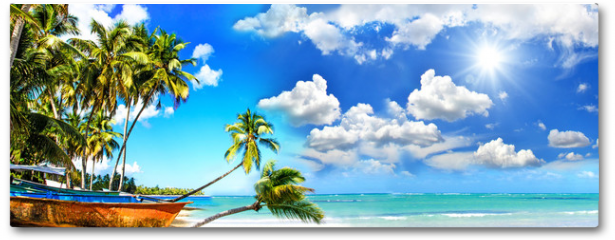 Plakat - Beach panorama: Perfect tropical paradise beach with turquoise blue water, blue sky, fisherman boat and coco palm :)