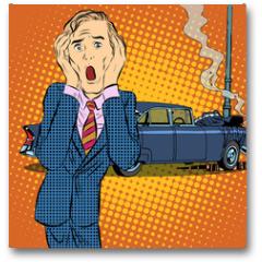 Plakat - Car accident man panic