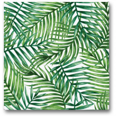 Plakat - Watercolor tropical palm leaves seamless pattern. Vector illustration.