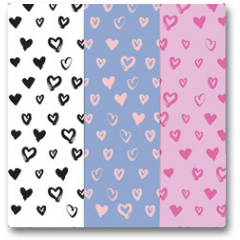 Plakat - Hand-drawn seamless pattern set with hearts