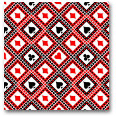 Plakat - Seamless vector pattern with icons of playings cards. Bright red, black and white symmetrical geometric background. Decorative repeating ornament. Series of Geometric, Ornamental Seamless Pattern
