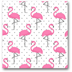 Plakat - Flamingo seamless pattern on polka dots background. Flamingo vector background design for fabric and decor.