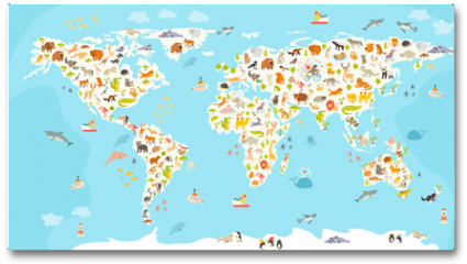 Plakat - World mammal map. Beautiful cheerful colorful vector illustration for children and kids. Preschool, baby, continents, oceans, drawn, Earth