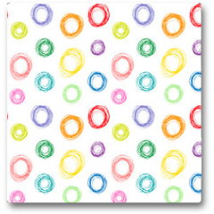 Plakat - Hand drawn colorful circles seamless pattern, vector illustration