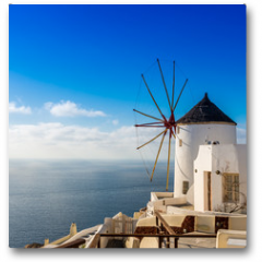 Plakat - Moulin à Oia sur l'île de Santorin, Grèce